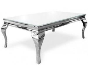 Table basse salon design Acier Argent Inox/Verre trempé baroque moderne rectangulaire - Betty POLO