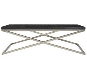 Table basse salon design acier Argent en noir bois massif BLACKBONI-2