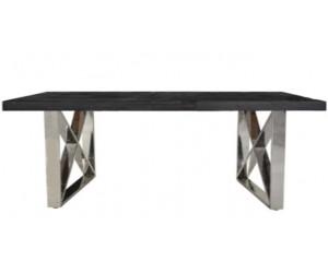 Table basse salon design acier Argent en noir bois massif BLACKBONI-3