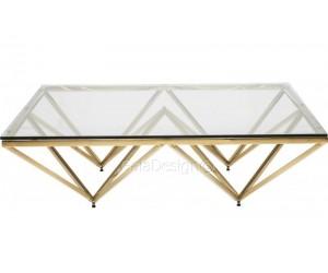 Table basse design acier inoxydable gold plateau en verre carre PARIS