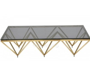 Table basse design acier inoxydable gold plateau en verre rectangulaire HARLEY