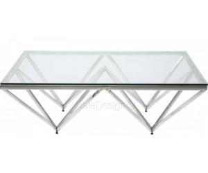 Table basse design acier inoxydable silver plateau en verre carre PARIS