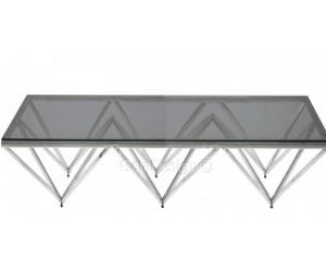 Table basse design acier inoxydable silver plateau en verre rectangulaire PARIS