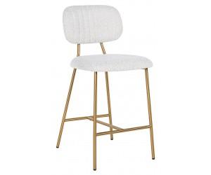 Bar stoel Tabouret Xenia White Bouclé / Brushed Gold