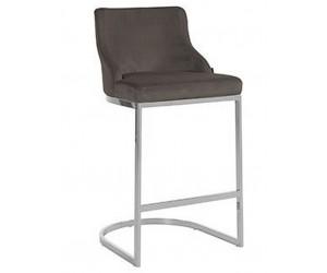 Bar stoel Tabouret Bolton Stone velvet / silver Fire Retardant