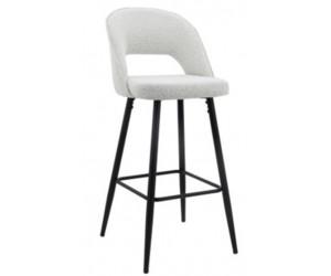 Barstoel Chaise de bar Tabouret Luna White Bouclé / Black