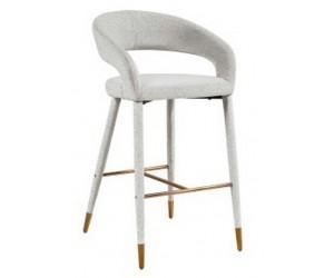 Barstoel Chaise de bar Tabouret Gia White Bouclé