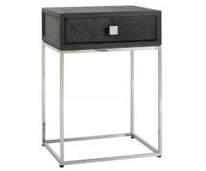 Table d'appoint Chevet Blackbone silver 1-tiroir