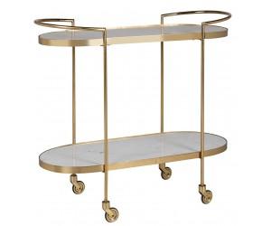 Richmond Interiors Trolley Bombay (Stone) Goud gold marbreServeerwagen rond Table d'appoint Bijzettafel Set Luxe