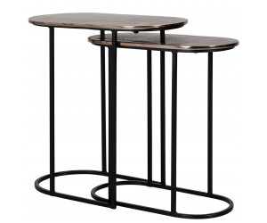 Richmond Interiors Corner table set of 2 oval Pillar Plantentafel Table d'appoint Table d'angle Chandon set de 2