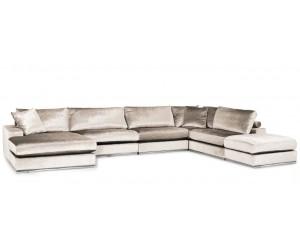 """Canapé d'angle en forme de """"U"""" avec une méridienne à gauche ou droit coloris tissu cream beige FENDI"""