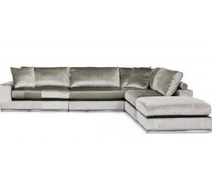 "Canapé d'angle en forme de ""L"" coloris tissu cream beige FENDI-3"
