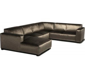 """Canapé d'angle en forme de """"U"""" avec une méridienne à gauche ou droit coloris tissu brun DELVOY"""