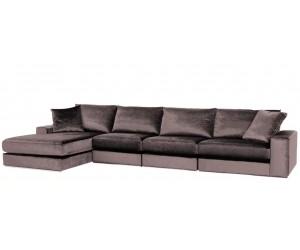 "Canapé d'angle en forme de ""L"" coloris tissu cream beige FENDI-4"