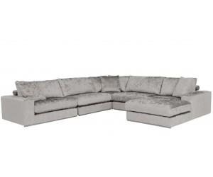 """Canapé d'angle en forme de """"U"""" avec une méridienne à gauche ou droit coloris tissu silver FENDI-5"""