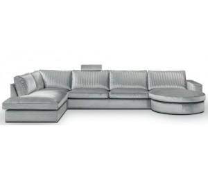 """Canapé d'angle en forme de """"U"""" avec une méridienne à gauche ou droit coloris tissu silver MAXIS"""