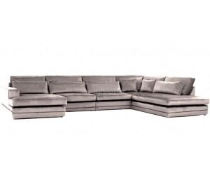 """Canapé d'angle en forme de """"U"""" avec une méridienne à gauche ou droit coloris tissu cream beige LORENZO"""