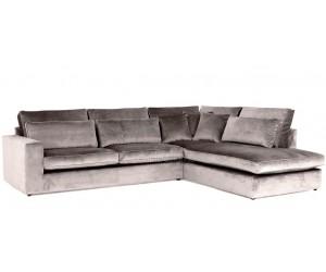 """Canapé d'angle en forme de """"L"""" avec une méridienne à gauche ou droit coloris tissu cream beige COAST-7"""