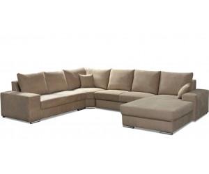 """Canapé d'angle en forme de """"U"""" avec une méridienne à gauche ou droit coloris tissu cream beige KYLAN"""