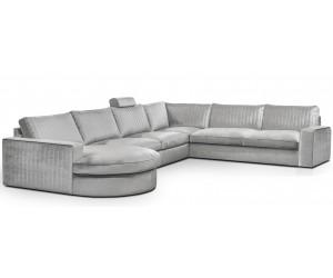 Canapé d'angle avec une méridienne à gauche ou droit coloris tissu silver RICARDO