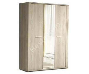 Armoire 3 portes avec miroir contemporaine chêne clair BALOU