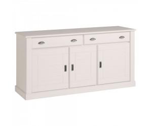 Enfilade à 3 portes et 2 tiroirs design rustique blanc VICO