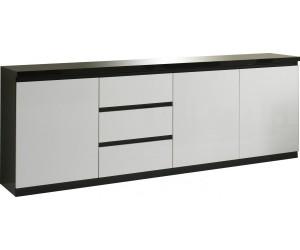 Bahut design blanc et noir à 3 portes et 3 tiroirs MADRID-3
