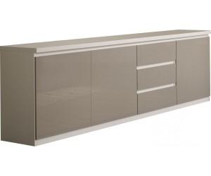 Bahut design blanc et gris brillant à 3 portes et 3 tiroirs MADRID-5