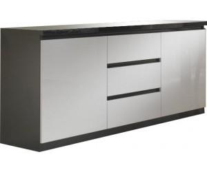 Bahut design noir et blanc à 2 portes et 3 tiroirs MADRID-3