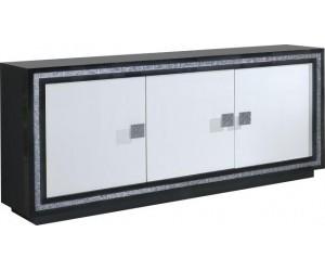 Bahut ultra design noir et blanc laqué avec strass KRISTAL